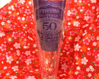 Cheers to ?? years etched glass