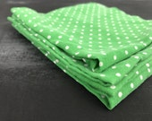 SALE- Set of 4 Food Blogger Photography Props St. Patricks Green Polka Dot Cotton Napkins- Farmhouse Style