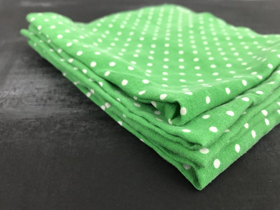 Food Blogger Photography Props- St. Patricks Green Polka Dot Cotton Napkins- Farmhouse Style