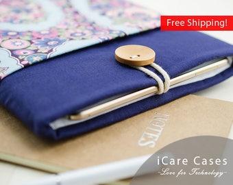 Apple Laptop Case MacBook Best Case for MacBook Apple MacBook Carrying Case Laptop Bags for MacBook Navy Blue Pink Floral Damask for Girl