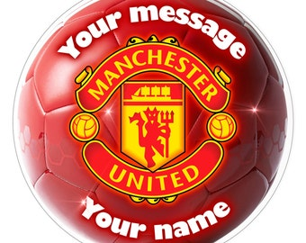 "MANCHESTER UNITED Inspired  Personalised Party Cake Topper Edible print on icing 7.0"" 18 cm"