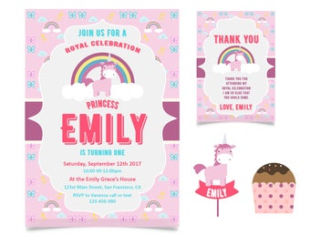 Printable Birthday Card kit. Unicorns