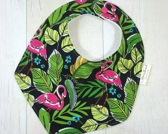 Tropical baby bib, baby flamingo, tropical leaves, new baby gift, luau baby shower, feeding bib, flamingo baby girl, tropical bib, baby bibs
