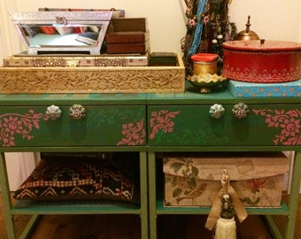 Hand painted and stencilled pair of chest of drawers