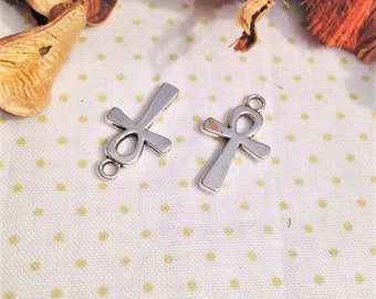 5 pendants charms cross ANKH or cross of life, silver charms