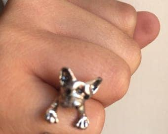 French bull dog adjustable silver ring
