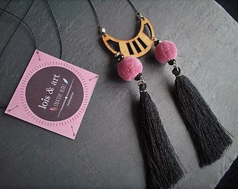 Tassel Necklace, Wooden Necklace, Pompom Jewelry, Wooden Pendant, Long Necklace, Gift for her, Handmade Jewelry,Crystal Beads