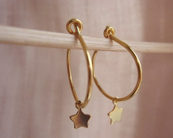 Harmony Hoop Earrings, Gold Hoop Earrings, Vermeil Earring Hoops, Small Hoop Earrings, Star Hoops, Modern, Minimal Earrings