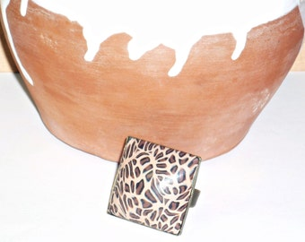 Ring animal print in polymer clay