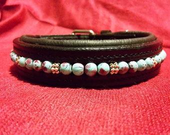 "Dog Collar - Blue Poppy - Medium sized 12-14"", Handbeaded blue and silver beads on padded black leather."