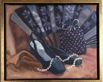Evening Wear, original oil painting, 9x11 incl. frame