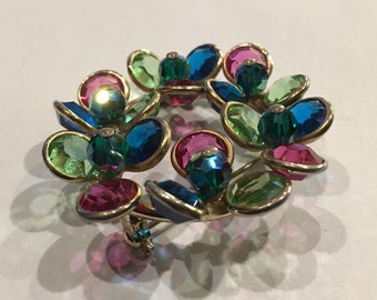 Vintage Pink, Blue, and Green Sparkly Circle Brooch Pin