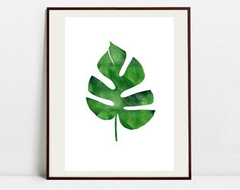 Monstera Art Botanical Print , Leaf Palm Watercolor Painting, Tropical Leaf Green Illustration, Digital Download Art Print