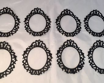 Tim Holtz Die Cuts * Oval Ornate Frame * Eight Frames * Cardstock * Sizzix 658720 * Black or White