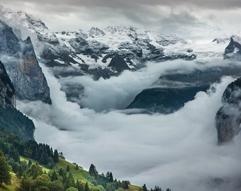 Valley of LAUTERBRUNNEN on photo paper