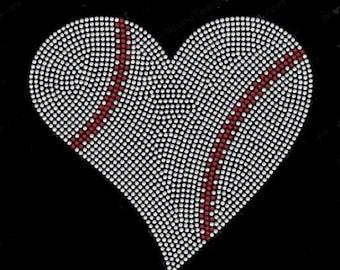 Rhinestone   Baseball Heart  Lightweight T-Shirt    or  DIY Iron On Transfer                     NLVP