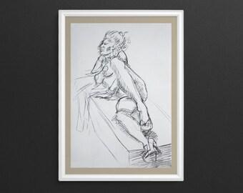 Marie Antoinette 3 - Charcoal Figure Drawing