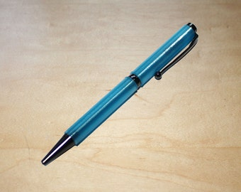 Gun Metal Translucent Blue Slimline 3d Printed Pen