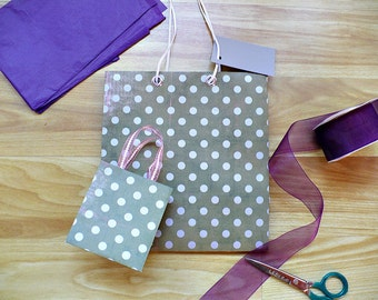 Gift Bags {set of 2} Green with Silver Polkadots