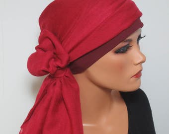 Head scarf Hat/TURBAN ideal summery red headgear b. chemotherapy alopecia hair loss chemo Hat cancer cancer therapy convertible cloth