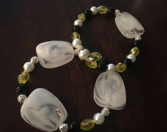 womens beaded bracelet yellow and black pair