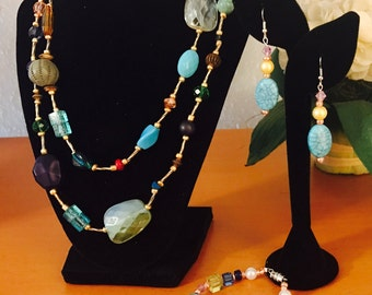 Spring time bauble beaded 3 piece jewelry set