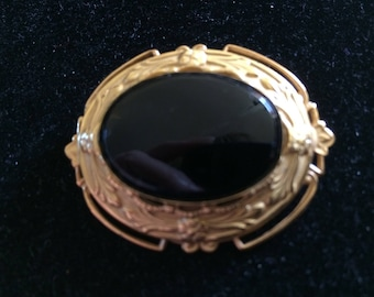 Vintage Victorian Inspired Mourning Brooch