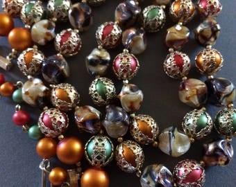 JAPAN* Gorgeous Vintage Double Strand Autumn Colours Bead Necklace, Signed