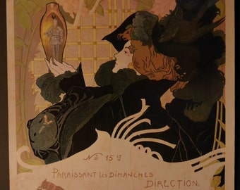 "Vintage advertising poster - Art Nouveau - De Feure - 19 th century - repro 80s - ""The newspaper sales"" Brussels"