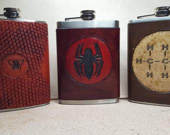 Stainless steel 8oz. flask with half crafted leather wrap. Custom made to order.