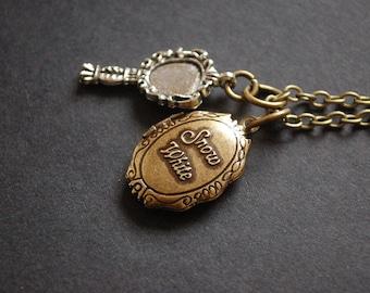Snow White locket mirror necklace
