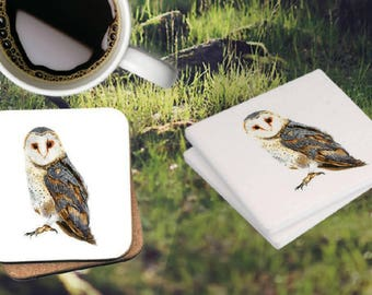 Barn Owl Ceramic coasters (set of four)