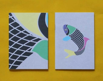 Koi Carp Fish Notebook - Plain Paper Notepad, Cool Stationery