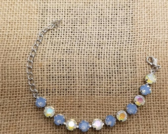 "Swarovski Crystal 8.5mm Tennis Bracelet-""Opal Blues""-Designer Inspired-Dressy or Casual-Prom Jewelry"