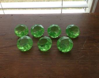 Set of 7 Antique Green Glass Chandelier Prisms