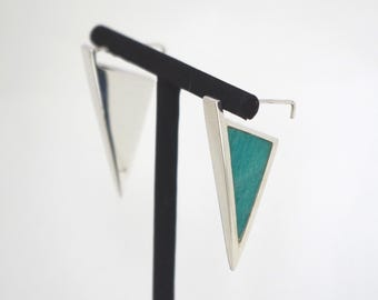 ORION - Triangular earrings in 925 sterling silver and Amazonite