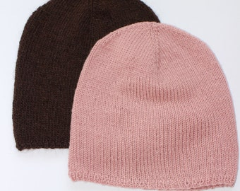 Spring dusty rose and chocolate knitting beanie hats