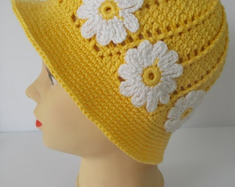 Yellow-white hand-crocheted hat for girls, Fashion coif for girls, Spring-summer kids hat, Girls hat with flowers , Baby girl sun hat