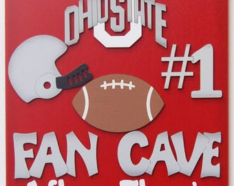 Ohio State Buckeyes Personalized Football  Sports sign  Ohio State Buckeyes Football Fans Sports bar signs Football yard sign
