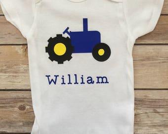 Little Farmer Baby Boy Onesie®, Newborn Outfit, Baby Boy Personalized Onesie®, Baby Shower Gift, Tractor Onesie®, Baby Boy Onesie®, Baby Boy