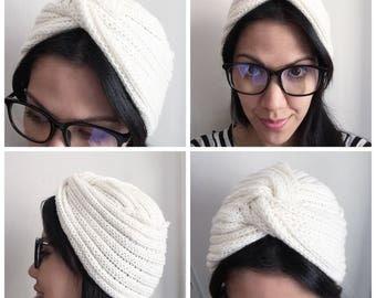 Snow DIVA TURBAN Vintage Inspired handknitted Turban 100% Virgin Wool (Merino)