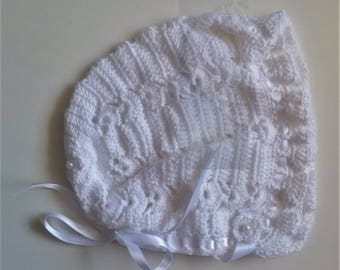 Crochet Baby Girls Bonnet White Medium