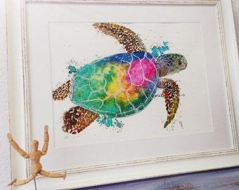 Rainbow flow, single-piece, hand painted & framed