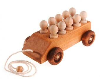 Wooden car with 10 passengers