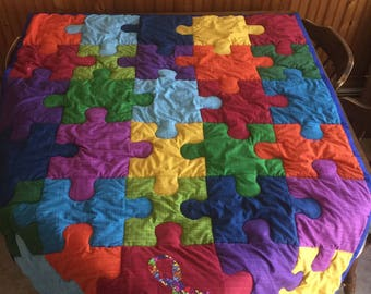 Autism Awareness Puzzle Quilt