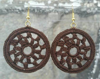 Medium Diana Crochet Earrings- Brown. Clip-ons upon request.