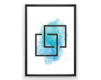 Geometric Print, Aqua Prints, Abstract Print, Aqua Geometric Print, Geometric Artwork, Digital Prints, Abstract, Instant Download, Square,