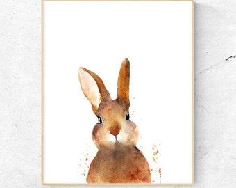 Bunny Rabbit Watercolour Fine Art Print, Woodland Nursery Art, Wall Decor, Baby Animal Poster Print, Printable Bunny, Digital Download