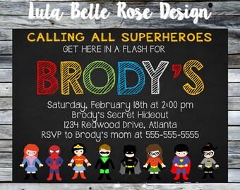 Superhero Invitation, Super Hero Invitation, Superhero Birthday Invitation, Superhero Party, Printable Invitation, Superhero Birthday