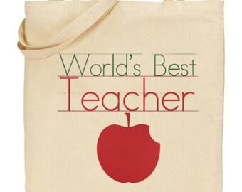 Teacher gift- Teacher tote bag-World Best Teacher-Maths Teacher,English Teacher,Science Teacher Gift